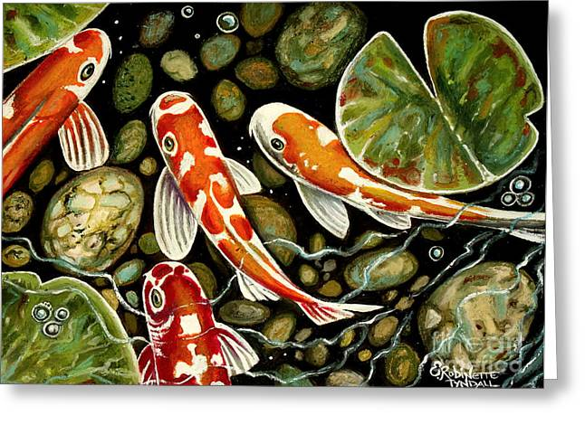 Lilly Pad Greeting Cards - Pebbles and Koi Greeting Card by Elizabeth Robinette Tyndall