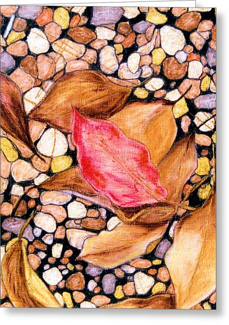 Pebbles Pastels Greeting Cards - Pebbles and Leaves Greeting Card by Jan Amiss
