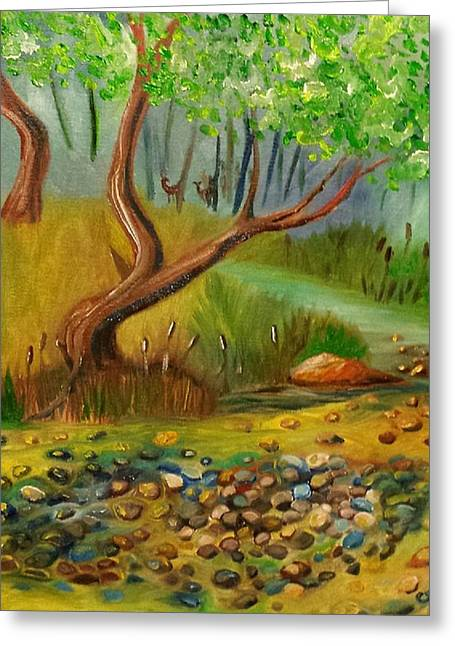 Licensor Greeting Cards - Pebbles in the creek Greeting Card by Cindy Harvell