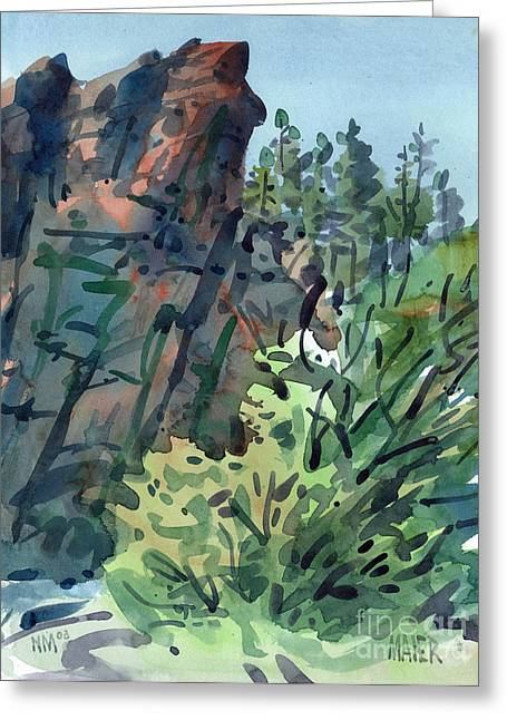 Canyons Paintings Greeting Cards - Pecos Canyon Greeting Card by Donald Maier