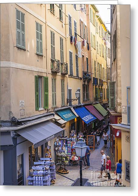Alpes Greeting Cards - Street in Old Nice Greeting Card by Elena Elisseeva
