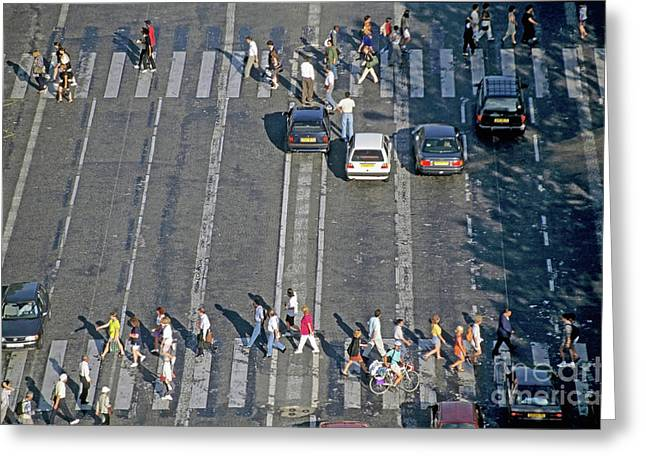 Crosswalk Greeting Cards - Pedestrians on a zebra crossing on the Champs-Elysees Greeting Card by Sami Sarkis