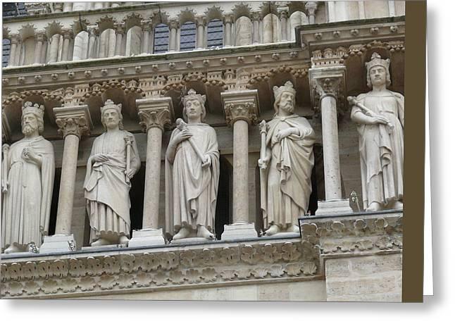 Pediment Sculptures Of Notre-dame De Paris Cathedral  Greeting Card by Alex Galkin