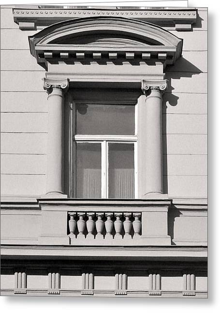 Belle Epoque Reliefs Greeting Cards - Pedimented Window Budapest Greeting Card by James Dougherty