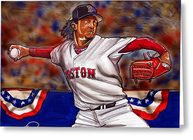 Award Drawings Greeting Cards - Pedro Martinez Greeting Card by Dave Olsen