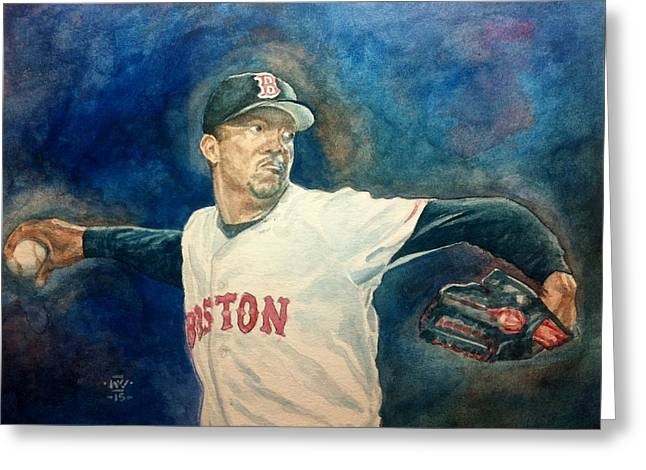 Red Sox Paintings Greeting Cards - Pedro Greeting Card by Nigel Wynter
