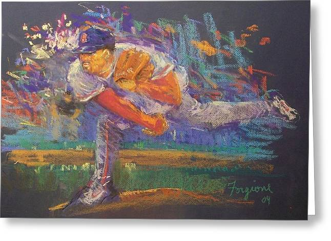 Red Sox Pastels Greeting Cards - Pedro Greeting Card by Tom Forgione