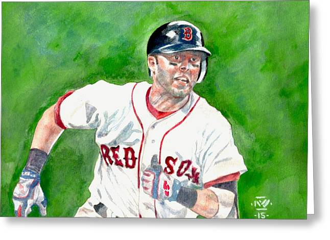 Fenway Park Paintings Greeting Cards - Pedroia Greeting Card by Nigel Wynter