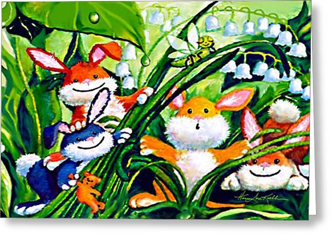 Peek-a-boo Bunnies Greeting Card by Hanne Lore Koehler