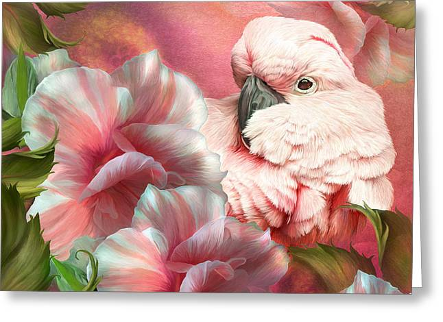 Birds And Flowers Greeting Cards - Peek A Boo Cockatoo Greeting Card by Carol Cavalaris