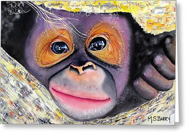 Orangutans Greeting Cards - Peek A Boo Greeting Card by Maria Barry