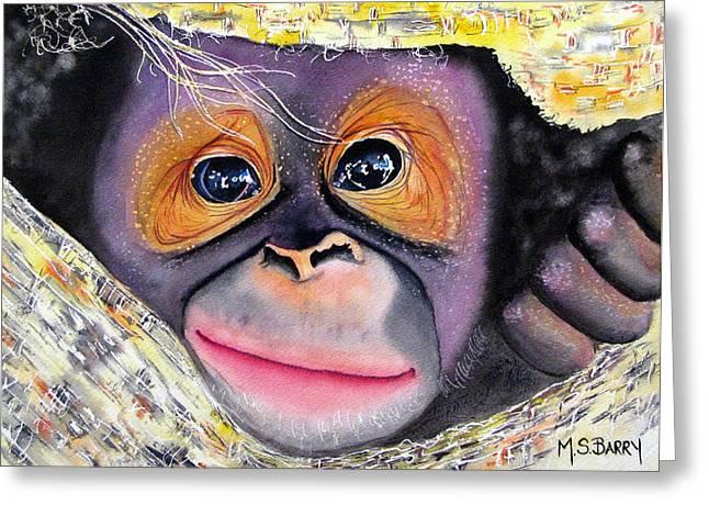 Orangutan Greeting Cards - Peek A Boo Greeting Card by Maria Barry