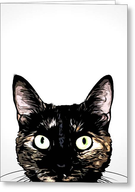Peeking Cat Greeting Card by Nicklas Gustafsson