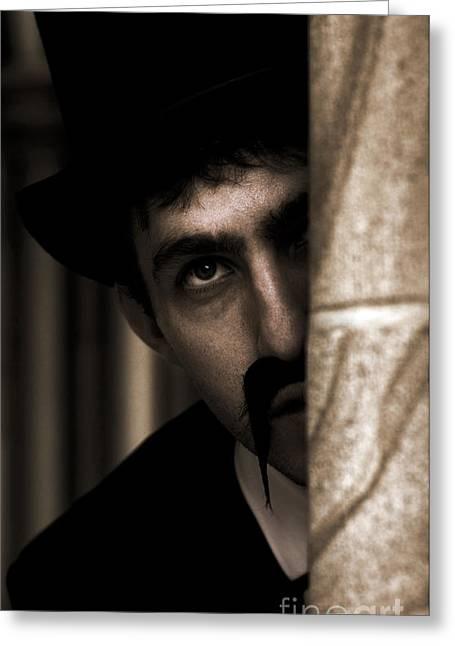Mustache Greeting Cards - Peeking Pastor Pillar Greeting Card by Ryan Jorgensen