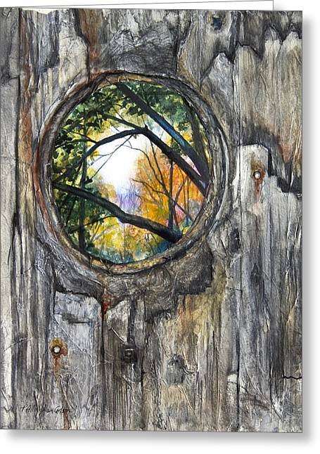 Fall Scenes Mixed Media Greeting Cards - Peeky Hole Through The Fence II Greeting Card by Patricia Allingham Carlson
