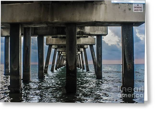 Docked Sailboat Greeting Cards - Peering Beneath The Pier Greeting Card by Gary Keesler