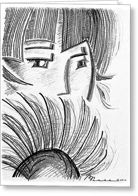 Inkwash Greeting Cards - Peering Over Greeting Card by Barbara Chase