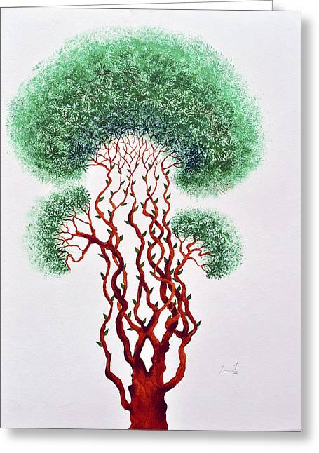 Tree Roots Paintings Greeting Cards - Peervriksh Greeting Card by Sumit Mehndiratta