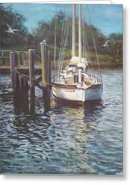 Docked Sailboats Greeting Cards - Pegasus at Rest Greeting Card by Laura Balboni Craciun
