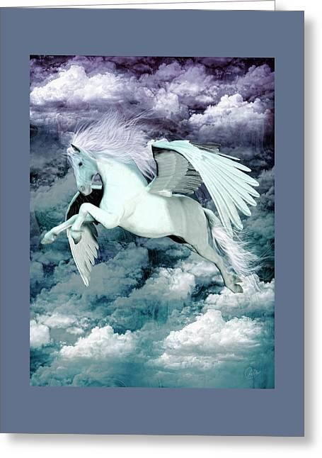 Pegasus Blue Greeting Card by Quim Abella