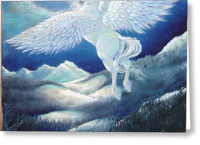 Pegasus Greeting Card by Heather Calderon