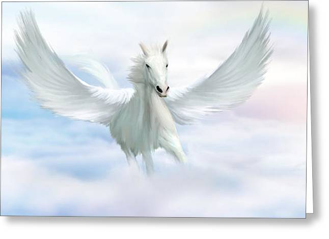Fantasy Creature Greeting Cards - Pegasus Greeting Card by John Edwards