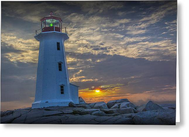Peggy's Cove Lighthouse At Sunrise Greeting Card by Randall Nyhof