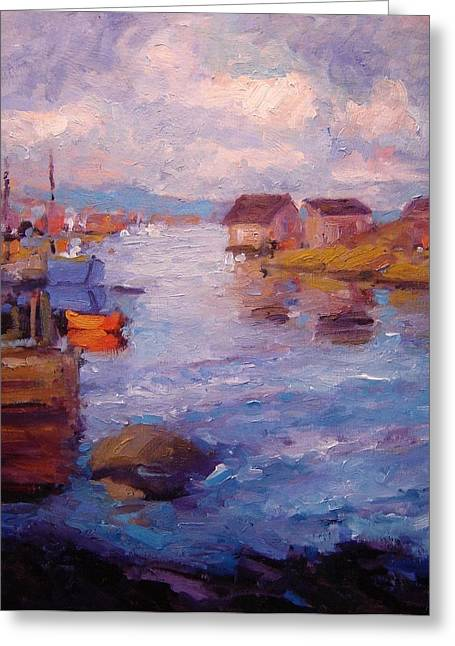 Docked Boat Greeting Cards - Peggys Cove Greeting Card by R W Goetting