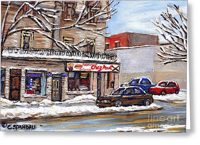 Buy Local Greeting Cards - Peintures Petits Formats A Vendre Montreal Original Art For Sale Restaurant Chez Paul The Pointe Psc Greeting Card by Carole Spandau