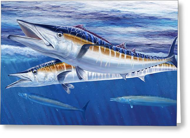 Wahoo Greeting Cards - Pelagic Marauders Greeting Card by Kevin Putman