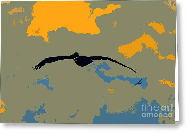 Pelican Art Greeting Cards - Pelican and Airplane Greeting Card by David Lee Thompson