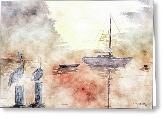 Pelican Bay Watercolor Greeting Card by Ken Figurski