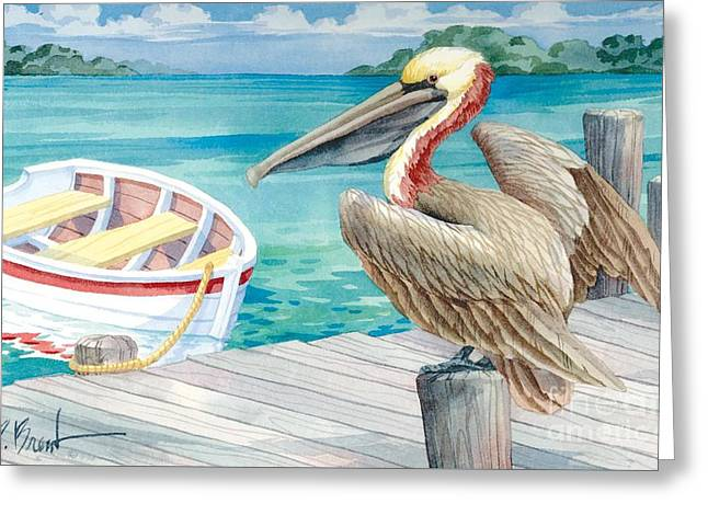 Pelican Dory Greeting Card by Paul Brent