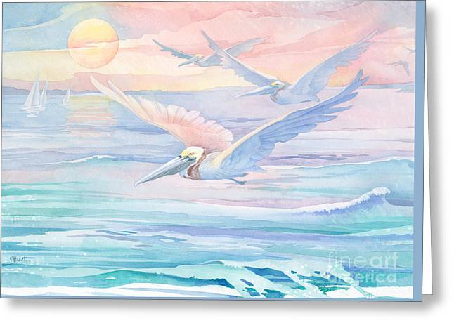 Pelicans Flying Greeting Cards - Pelican Flight Greeting Card by Paul Brent