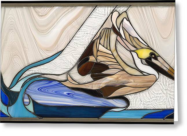 Sea Birds Glass Greeting Cards - Pelican landing Greeting Card by Kathryn Fitzgerald