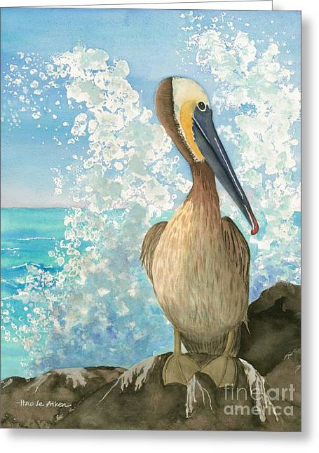 Sea Birds Greeting Cards - Pelican On The Rocks Greeting Card by Hao Aiken
