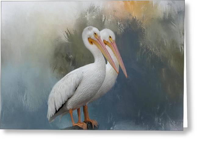 Pelican Pair Greeting Card by Kim Hojnacki