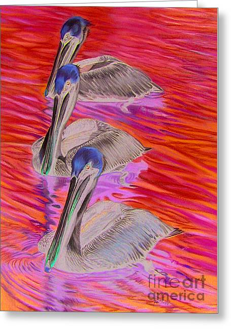 Tropical Oceans Pastels Greeting Cards - Pelican Patrol Greeting Card by Deb LaFogg-Docherty