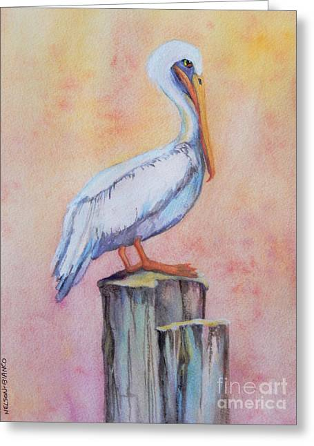 Sea Birds Greeting Cards - Pelican Post Greeting Card by Sharon Nelson-Bianco