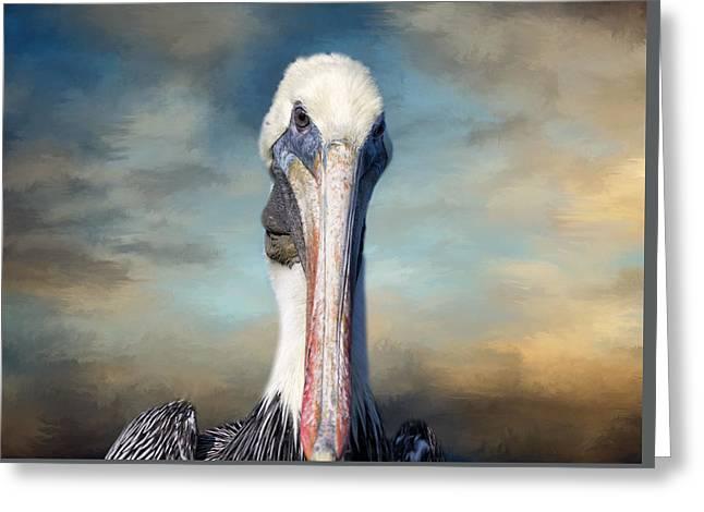 Pelican Profile Greeting Card by Kim Hojnacki