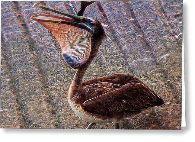 Stupidity Greeting Cards - Pelican Quandary  Greeting Card by Patrick Witz