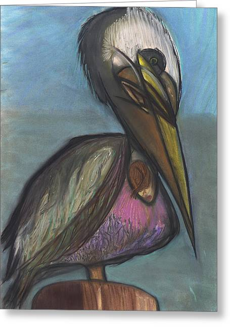 Sand Dunes Pastels Greeting Cards - Pelican Greeting Card by Stu Hanson