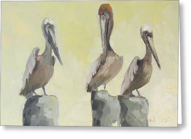 Florida Panhandle Paintings Greeting Cards - Pelicans Three Greeting Card by Susan Richardson