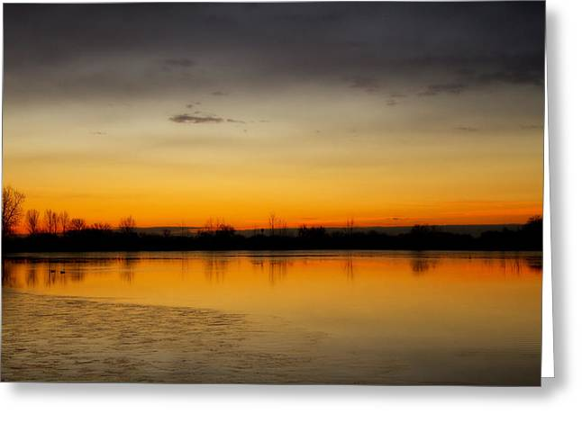 Lightning Gifts Greeting Cards - Pella Ponds  December 16th Sunrise Greeting Card by James BO  Insogna