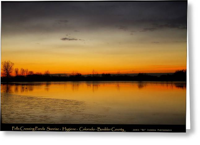 Lightning Gifts Greeting Cards - Pella Ponds  December 16th Sunrise Poster Photography Print Greeting Card by James BO  Insogna