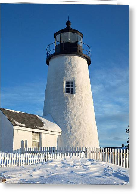 Blizzard Scenes Greeting Cards - Pemaquid Lighthouse Portrait Greeting Card by Eric Gendron