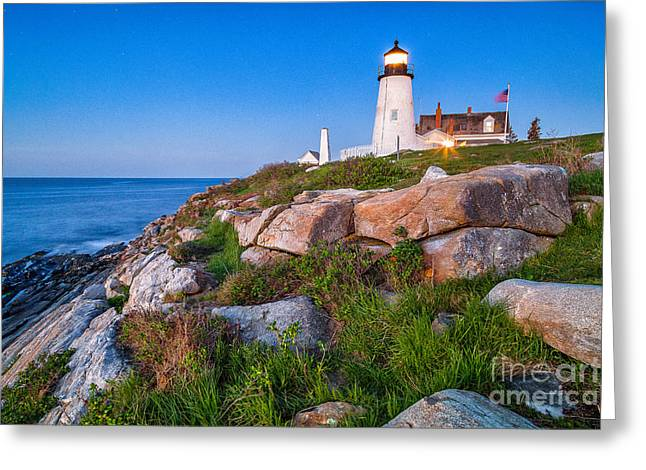Maine Landscape Greeting Cards - Pemaquid Point Blue Hour Greeting Card by Benjamin Williamson