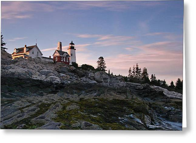 New England Ocean Greeting Cards - Pemaquid Point Light Panorama Greeting Card by Juergen Roth