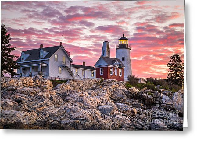 Maine Spring Greeting Cards - Pemaquid Point Lighthouse  Greeting Card by Benjamin Williamson
