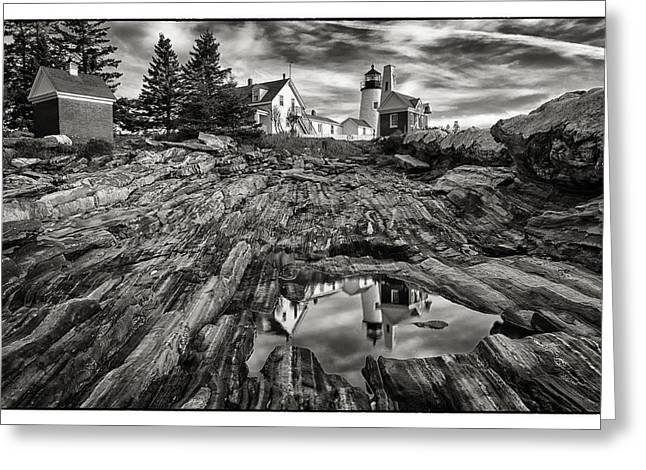 Maine Lighthouses Greeting Cards - Pemequid Reflection Greeting Card by Robert Fawcett